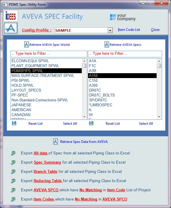 AVEVA PDMS/E3D SPEC Facility
