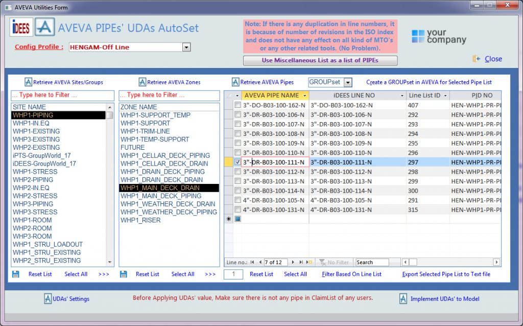 AVEVA PDMS/E3D PIPEs' UDAs AutoSet
