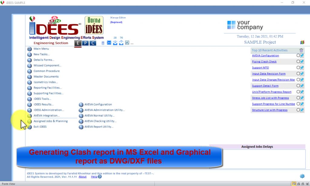 AVEVA PDMS/E3D Clash Report Tool