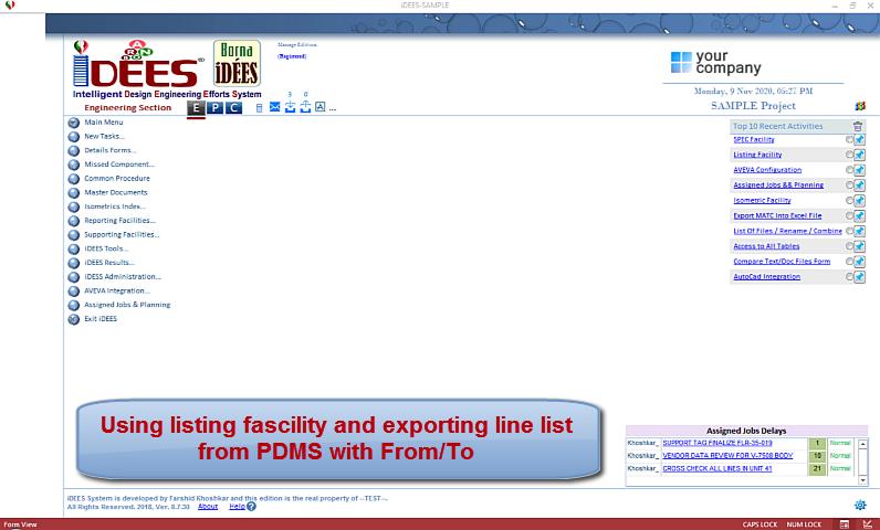 AVEVA PDMS/E3D PIPE Listing Facility